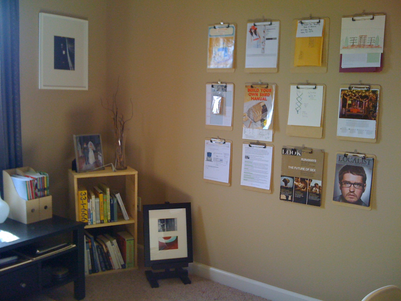Back corner with new book shelf and idea wall