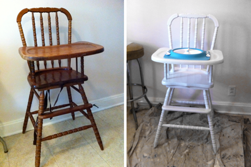 Chris and I have refinished old furniture before, but I really wanted to  get this right, so I followed this tutorial from The Frugal Girl (mostly,  anyway). - Before + After: Vintage High Chair – Dee Wilcox